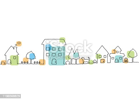 istock Line drawing of town landscape 1196568829