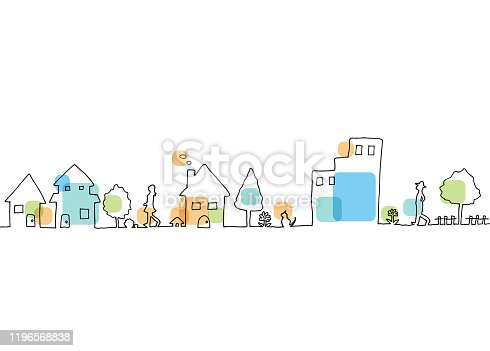 istock Line drawing of town landscape 1196568838