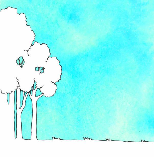 illustrazioni stock, clip art, cartoni animati e icone di tendenza di line drawing of tree - forest bathing