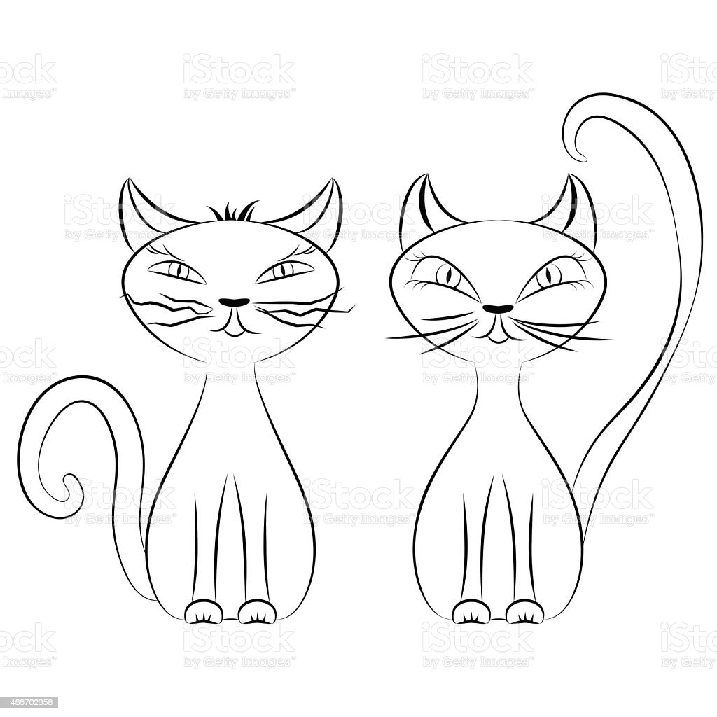 Line Drawing Of Domestic Animals : Line drawing of two cats stock vector art more images