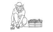 Line drawing of woman works in the garden. Gardening or planting concept. Vector illustration.