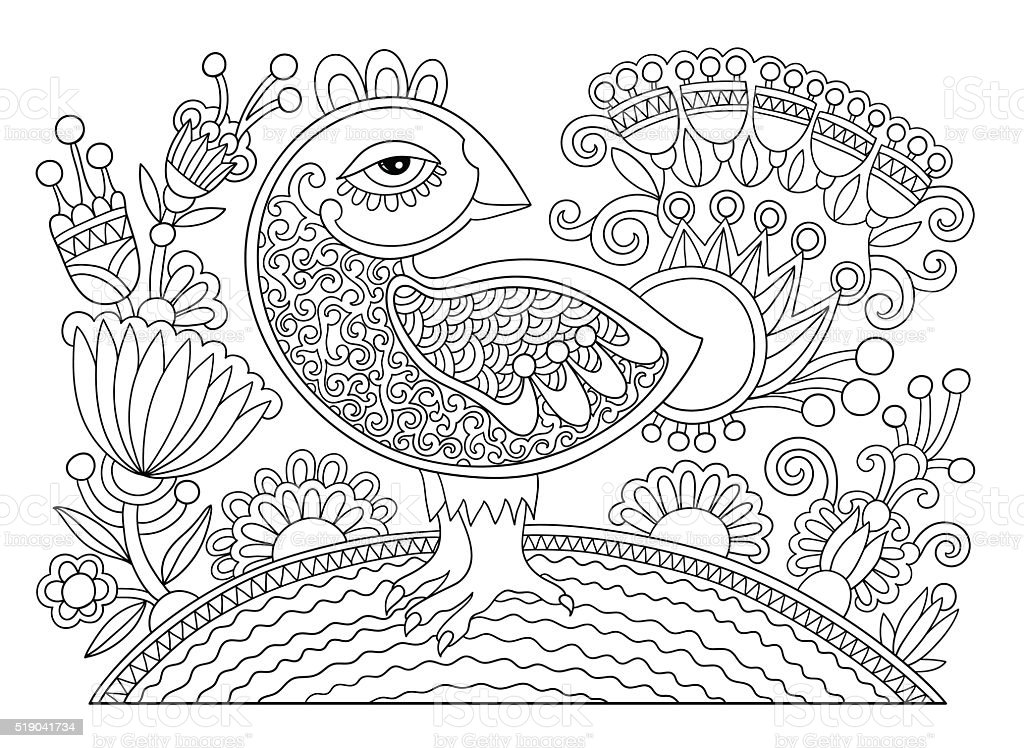 Line Drawing Page Of Coloring Book Bird And Flower Royalty Free