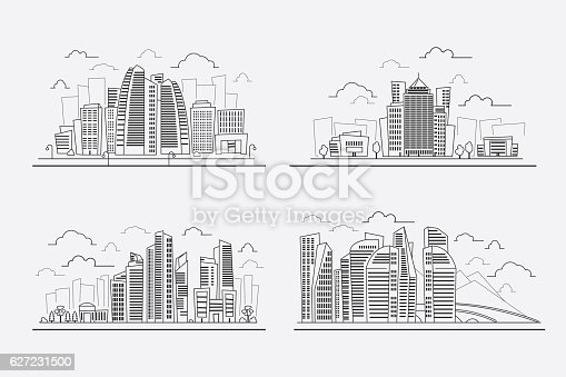 Drawing Lines In Photo Elements : Line drawing skyscrapers vector contour cityscape elements