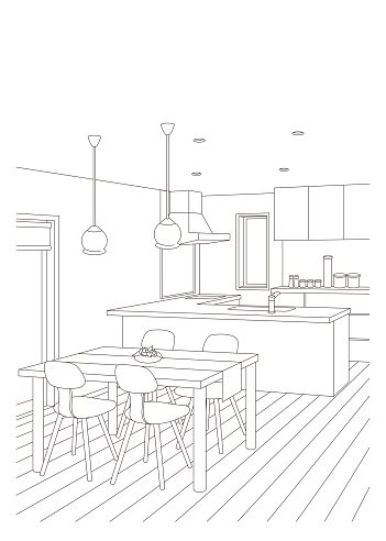 Line drawing vector illustration of the kitchen.