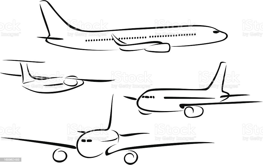 line drawings of aeroplanes vector art illustration