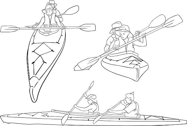line drawings of double kayaks - kayaking stock illustrations, clip art, cartoons, & icons