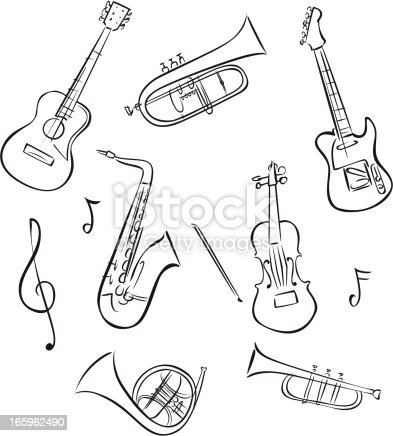 Line Drawings Of Musical Instruments Stock Vector Art