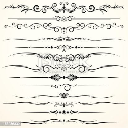 Different Design of Ornamental Rule Lines.