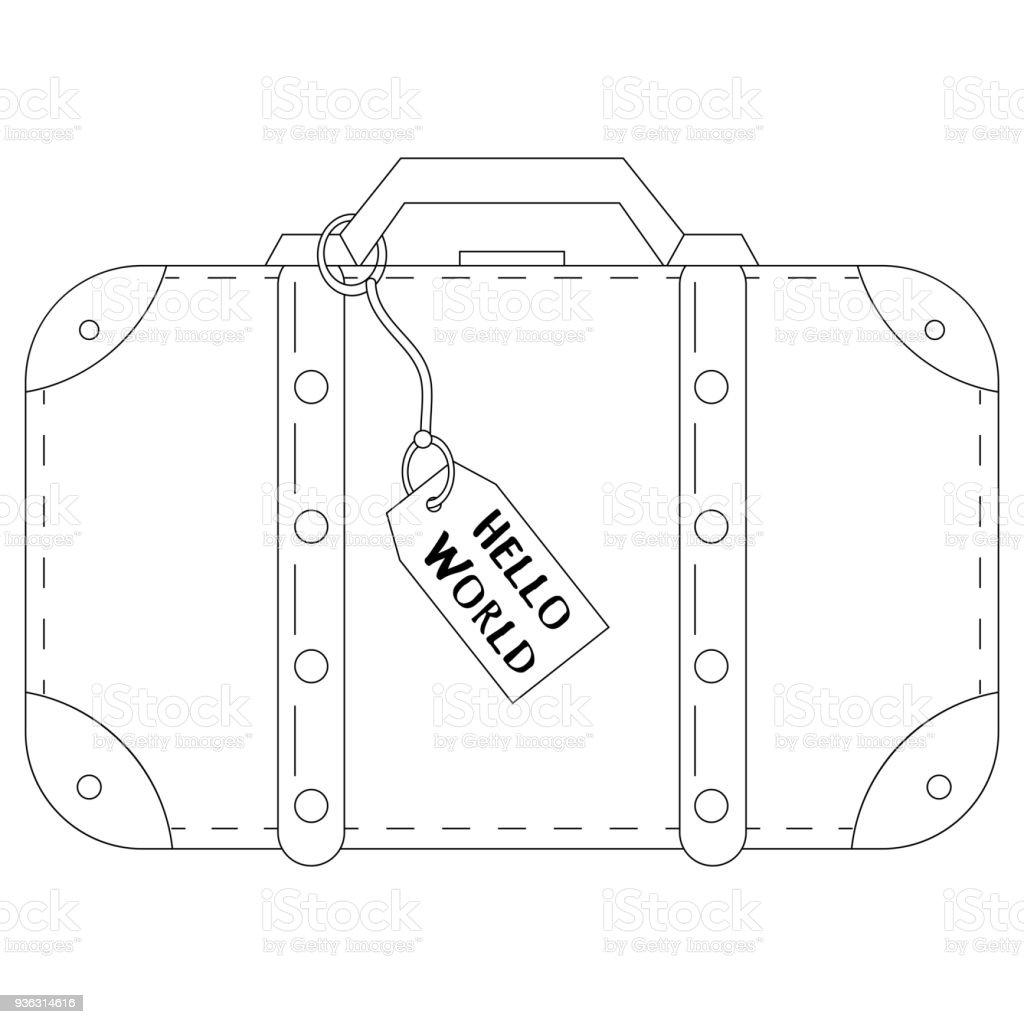 ilustração de linha desenhada para colorir a mala de viagem de