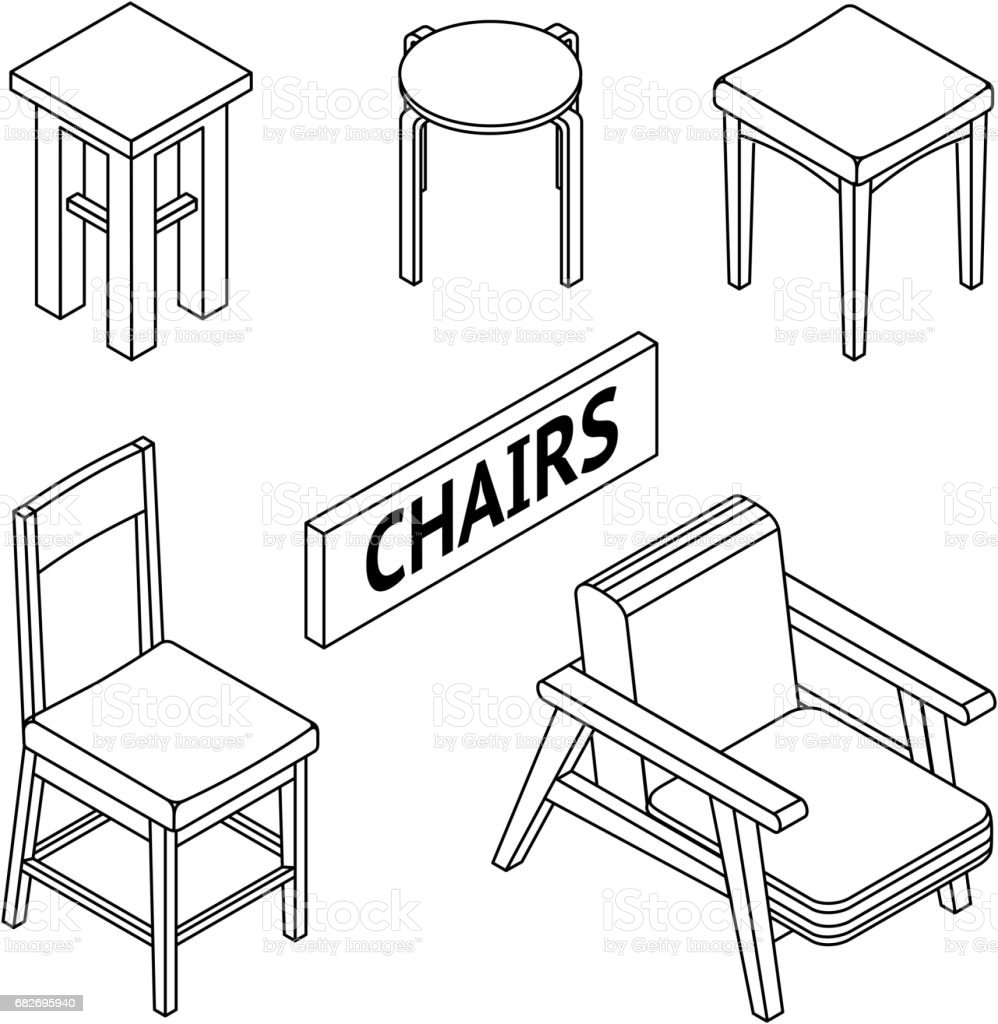 3d Line Drawn Isometric Chairs White Background Stock Illustration