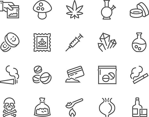 Line Drugs Icons Simple Set of Drugs Related Vector Line Icons. Contains such Icons as Marijuana, Cocaine, Heroin, LSD, Extasy and more. Editable Stroke. 48x48 Pixel Perfect. cocaine stock illustrations