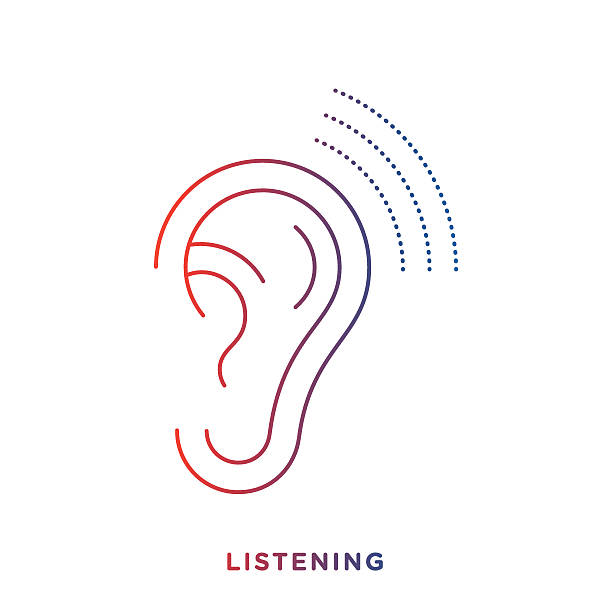 Line Ear Symbol Thin line icon with gradient color, ear symbol for listening and perception compositions. Modern style vector illustration concept. ear stock illustrations