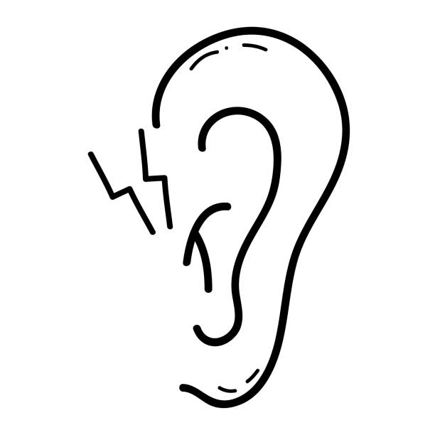 Line Drawing Ear : Royalty free ear pain clip art vector images
