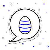 Line Easter egg icon isolated on white background. Happy Easter. Colorful outline concept. Vector Illustration