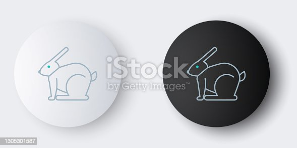 istock Line Easter rabbit icon isolated on grey background. Easter Bunny. Colorful outline concept. Vector 1305301587