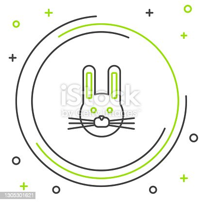 istock Line Easter rabbit icon isolated on white background. Easter Bunny. Colorful outline concept. Vector 1305301621