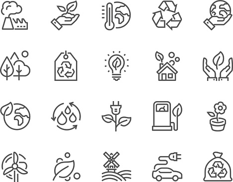 Simple Set of Eco Related Vector Line Icons. Contains such Icons as Electro Car, Global Warming, Forest, Organic Farming and more. Editable Stroke. 48x48 Pixel Perfect.