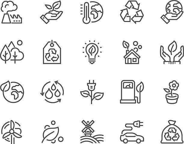 라인 에코 아이콘 - 날씨 stock illustrations