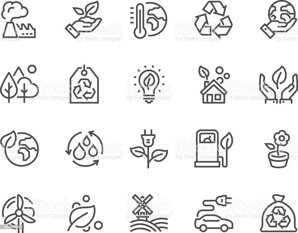 Line Eco Icons - ilustração de arte em vetor