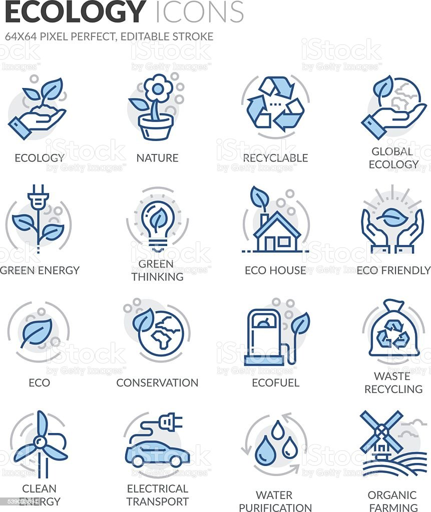 Line Ecology Icons vector art illustration