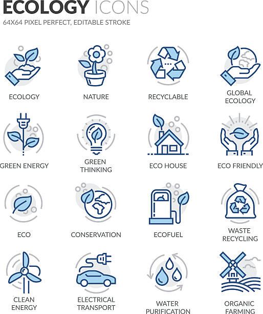 line ecology icons - energy saving stock illustrations, clip art, cartoons, & icons