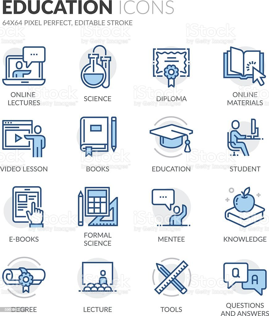 Line Education Icons vector art illustration