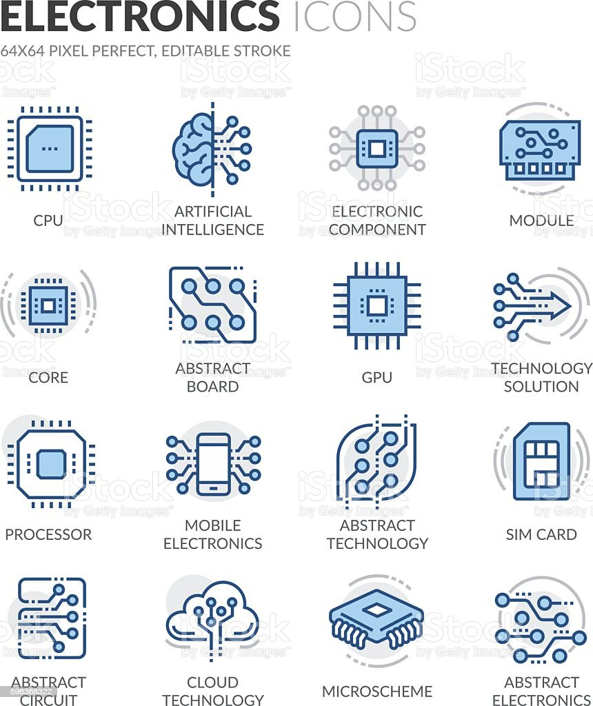Line Electronics Icons royalty-free line electronics icons stock illustration - download image now