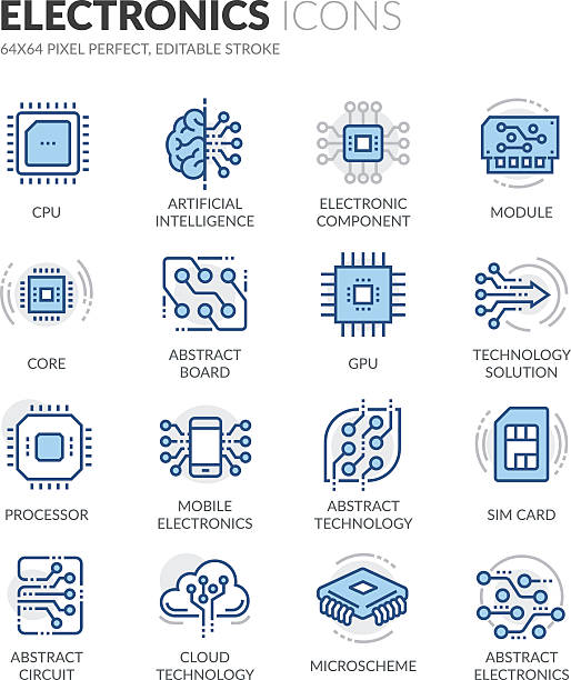 line electronics icons - cpu stock illustrations