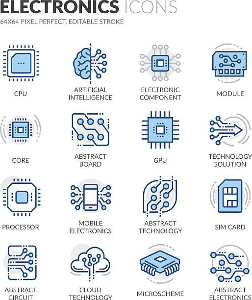 line electronics icons - farbchips stock-grafiken, -clipart, -cartoons und -symbole