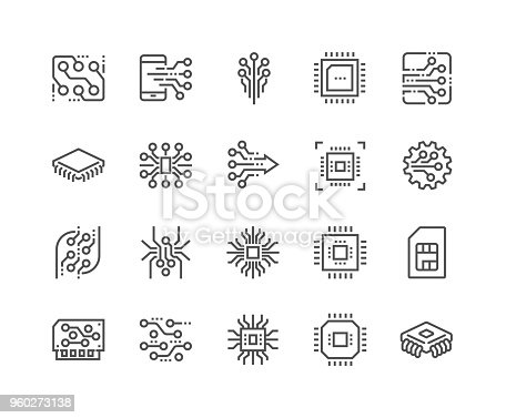 Simple Set of Abstract Electronics Related Vector Line Icons. Contains such Icons as Spider Bot, Chip, Circuit, Abstract Electronic Module and more. Editable Stroke. 48x48 Pixel Perfect.