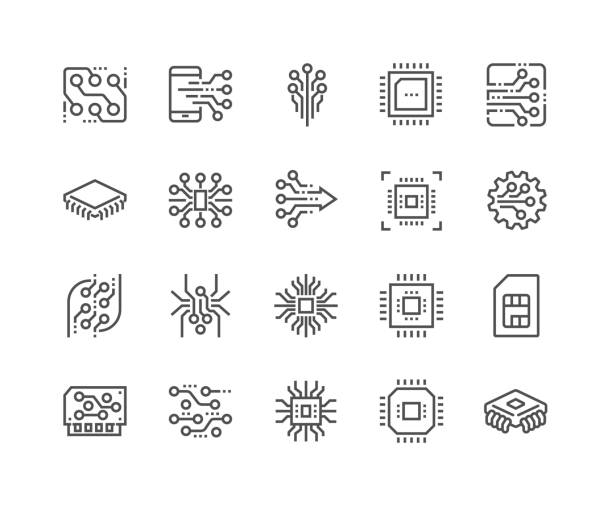 Line Electronics Icons Simple Set of Abstract Electronics Related Vector Line Icons. Contains such Icons as Spider Bot, Chip, Circuit, Abstract Electronic Module and more. Editable Stroke. 48x48 Pixel Perfect. computer chip stock illustrations