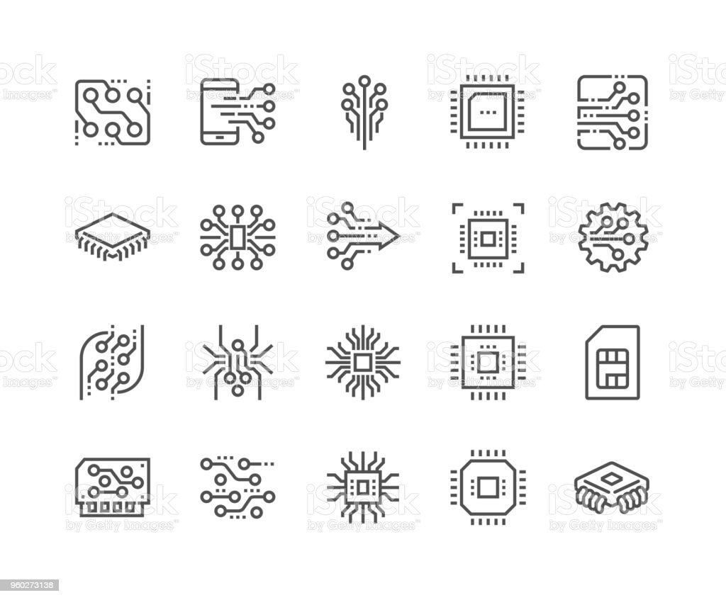 Line Electronics Icons vector art illustration