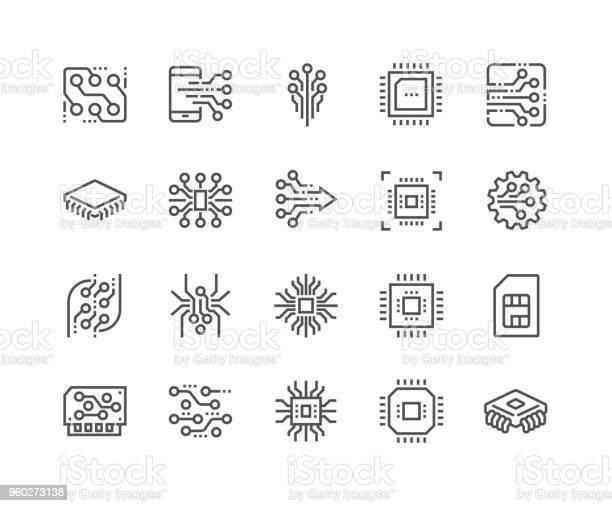 Line Elektronik Ikoner-vektorgrafik och fler bilder på Abstrakt
