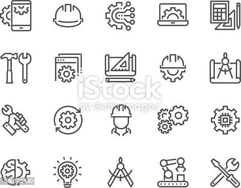 istock Line Engineering Icons 580115430