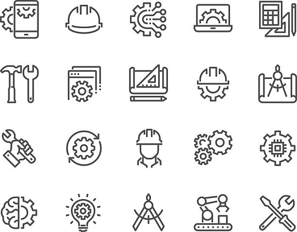 Line Engineering Icons – Vektorgrafik