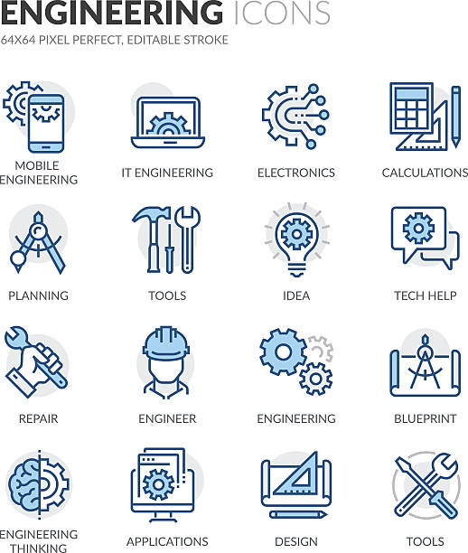 ikony inżynierii linii - inżynieria stock illustrations