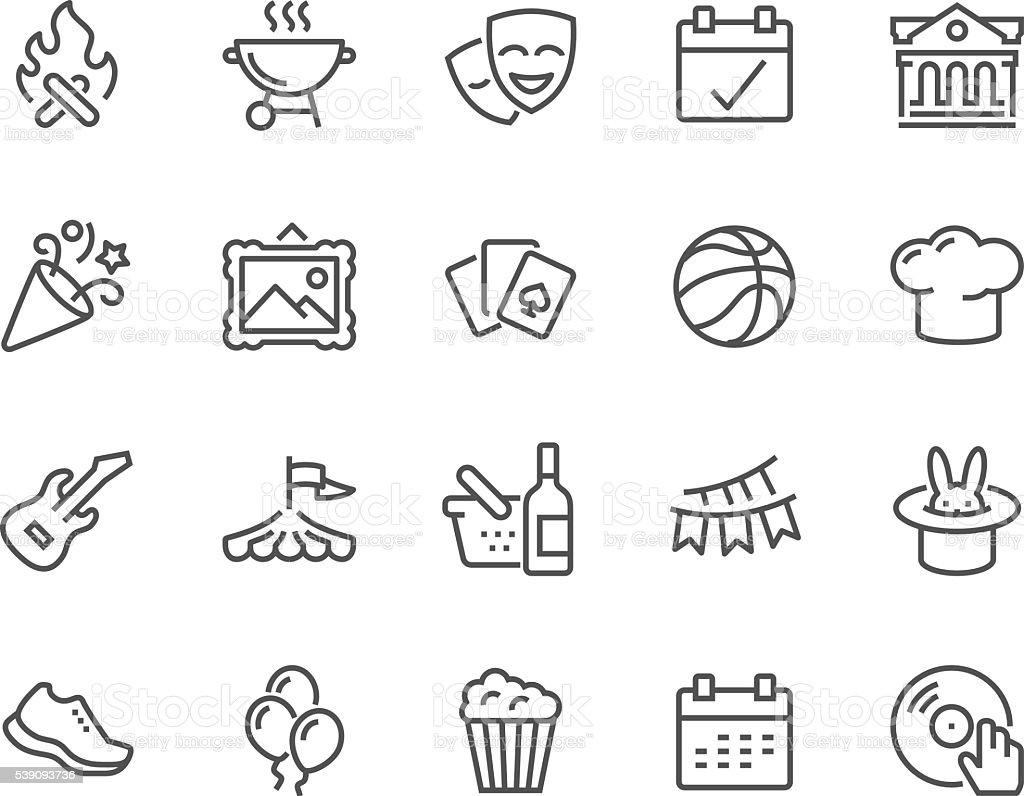 Ligne icônes d'événements - Illustration vectorielle