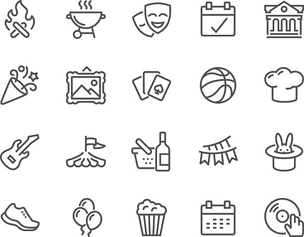 line event icons - music and entertainment icons stock illustrations