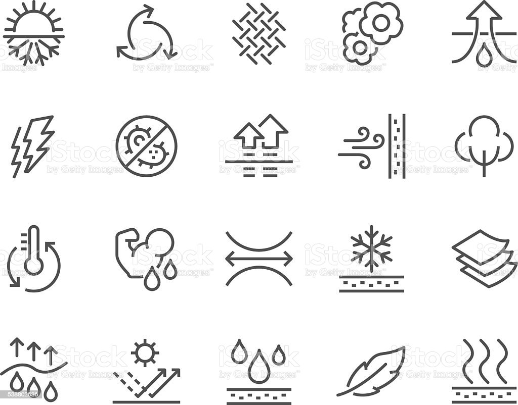 Line Fabric Feature Icons royalty-free line fabric feature icons stock illustration - download image now