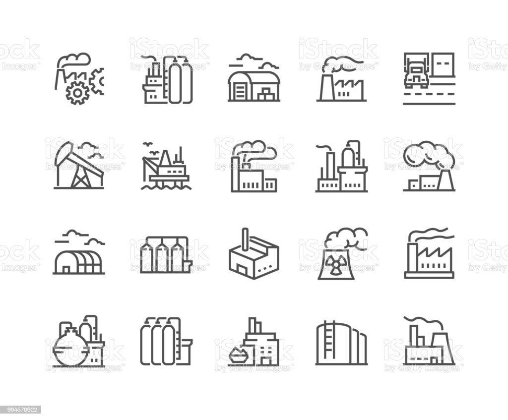 Line Factories Icons royalty-free line factories icons stock illustration - download image now