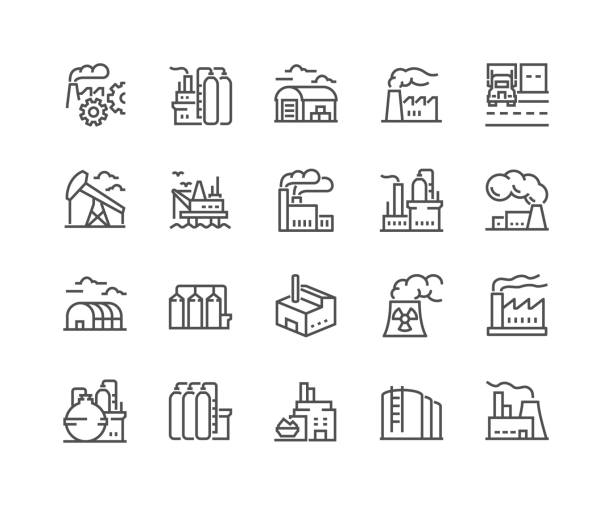 Line Factories Icons Simple Set of Factories Related Vector Line Icons. Contains such Icons as Truck Terminal, Power Station, Mine, Warehouse, Greenhouse and more. Editable Stroke. 48x48 Pixel Perfect. plant stock illustrations