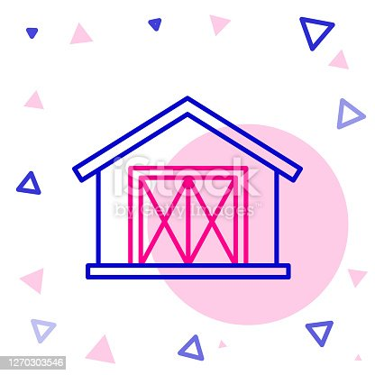 istock Line Farm house icon isolated on white background. Colorful outline concept. Vector Illustration 1270303546