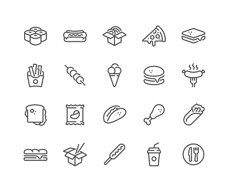 Line Fast Food Icons clipart
