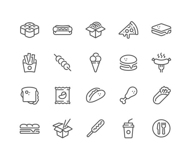 Line Fast Food Icons Simple Set of Fast Food Related Vector Line Icons.  Contains such Icons as Pizza, Tacos, Chips and more. Editable Stroke. 48x48 Pixel Perfect. french fries stock illustrations