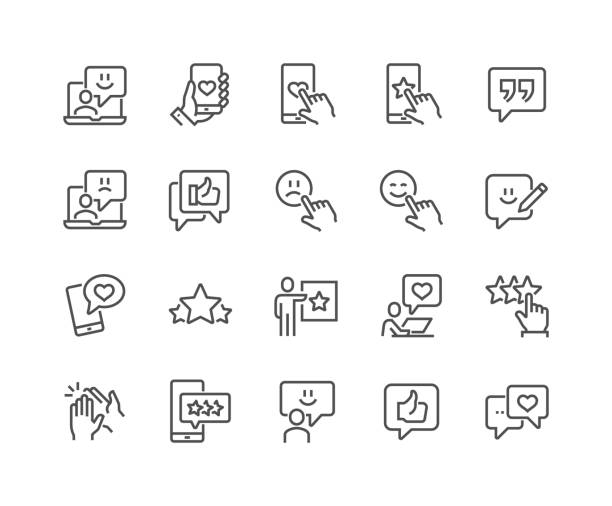 Line Feedback Icons Simple Set of Feedback Related Vector Line Icons. Contains such Icons as Star Rating, User Opinion, Testimonial and more. Editable Stroke. 48x48 Pixel Perfect. displeased stock illustrations
