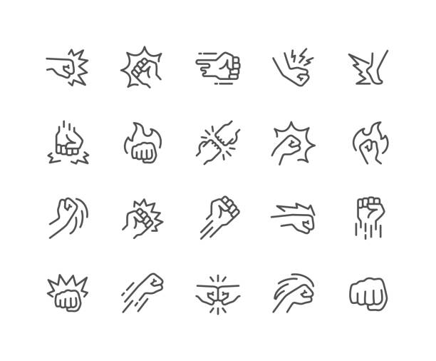 Line Fight Icons Simple Set of Fight Related Vector Line Icons.  Contains such Icons as Fist Bump, Hit, Strike and more. Editable Stroke. 48x48 Pixel Perfect. stiff stock illustrations