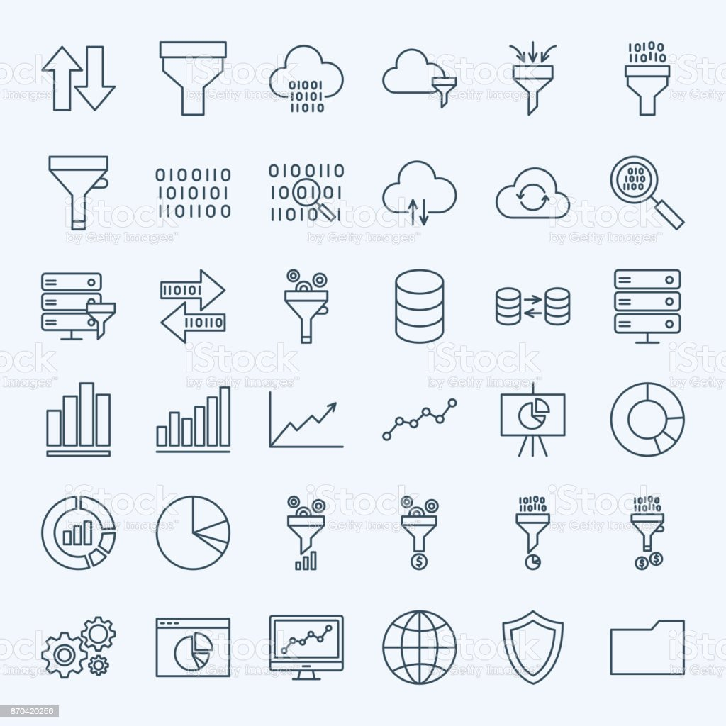 Line Filter Funnel Icons vector art illustration