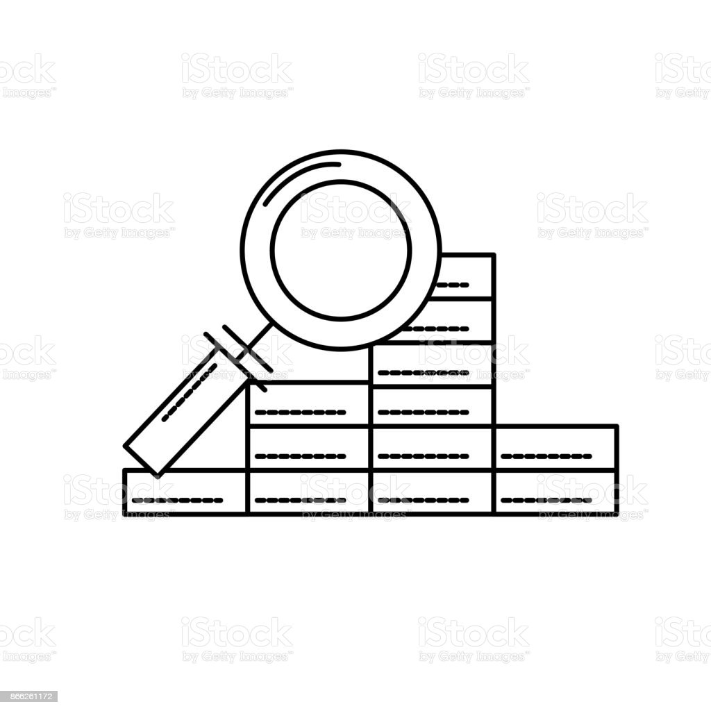 line finance gold economy with magnifying glass vector art illustration