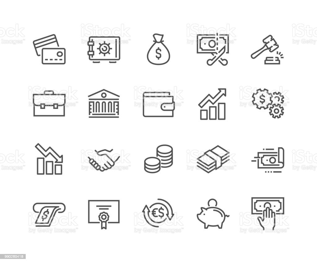 Line Finance Icons Simple Set of Finance Related Vector Line Icons. Contains such Icons as Taxes, Money Management, Handshake and more. Editable Stroke. 48x48 Pixel Perfect. ATM stock vector