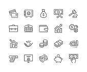 Simple Set of Finance Related Vector Line Icons. Contains such Icons as Taxes, Money Management, Handshake and more. Editable Stroke. 48x48 Pixel Perfect.